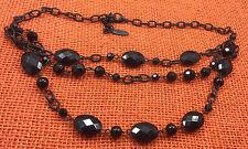 Vintage Necklace Jones of New York Plastic Faceted Black & Enamel Multi Strand
