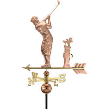 New Good Directions Golfer Polished Copper Roof-Mount Weathervane w/ Arrow Large