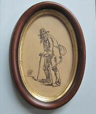 Dessin à la plume encadré - VIEILLARD A LA BESACE - XIXe siècle
