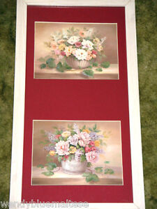 2 Vases of Flowers Roses Lilac Green Ivy by Vivian Flasch Framed Print 56x30cm