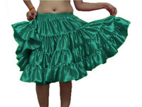 HUNTER GREEN 4 Tier Satin Short Mini Dress Skirt Ruffle Pleated Belly Dance Jupe