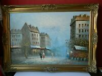 Large Original Oil Painting of Paris Street Scene BURNETT