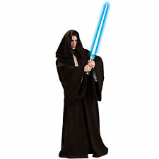 Adult Mens Star Wars Master Jedi Costume Hooded Robe Fancy Party Dress 03A3006