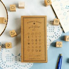 32Pcs/Set Weather Wooden Rubber Stamp Scrapbooking Multi-functional Diary Decor
