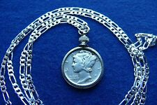 "Silver Antique Mercury Dime War Era Pendant on a 30"" .925 Sterling Silver Chain"