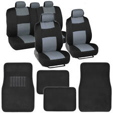 Black/Gray Two-Tone Car Seat Covers & Carpet Floor Mats Polyester Auto Truck SUV
