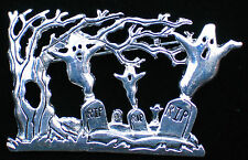 "HALLOWEEN RIP GRAVE SITE TOMBSTONE SPOOKY GRAVEYARD GHOST PIN BROOCH 2 1/2"" 3-D"