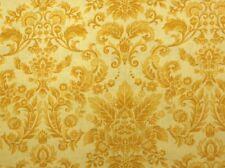 Henry Glass BOTANICA III ROYAL DAMASK(Gold) 100% Prem Cotton Fabric-Per 1/2 Yard