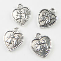Wholesale 100ps Lovers Boy and Girl Heart Tibetan Silver Charm Pendant Bead HJ25