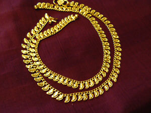 22K Gold Plated Anklets Indian Wedding Bollywood Style Free Size