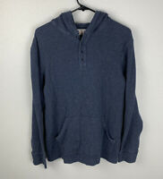Lucky Brand Henley Hoodie Blue Mens S Small