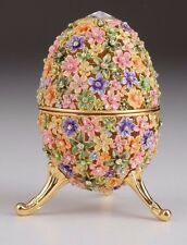Flower Egg Faberge trinket box hand made by Keren Kopal w/ Austrian crystal