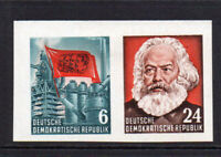 East Germany 2 Imperf Stamps Ex Miniature Sheet c1953 Mounted Mint Hinged (8614)