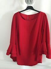 Womens Red Ruffle Flared Sleeve Blouse - Size 18