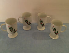4 Christmas Pedestal Mugs Holly Berries Fine Porcelain Cups Japan Jay Import NEW