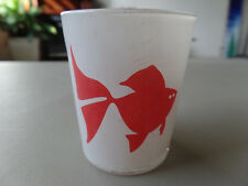 Vintage Red Fish Goldfish White Frosted Glass Candle Holder Votives GVC