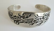 Sterling silver amazing fire breathing dragon hopi style cuff bracelet Mexican