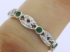 R133 Genuine 9ct White GOLD Natural Emerald & Diamond Full Eternity Ring size N