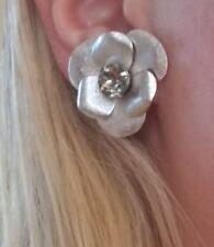 Vintage Sarah Covington Silver Crystal Flowers Clip on Earrings Rhinestones HTF