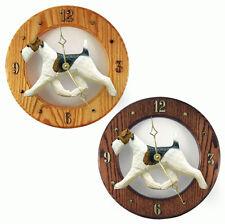 Wire Fox Terrier Wood Clock