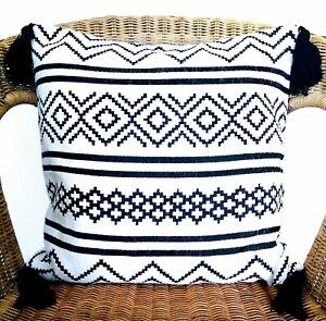 Black White Geometric BOHO Chenille Cushion Pillow COVERs  tassels monochrome