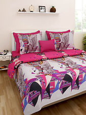 Homefab India Luxury Printed Double Bed Sheet with 2 Pillow covers(Dream097)