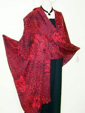 Ruana Cape Coat Tiger Print Italian Wool Cashmere & Angora  Red Maya Matazaro