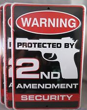 WHOLESALE LOT OF 6 2ND SECOND AMENDMENT SECURITY METAL SIGNS MADE IN USA gun
