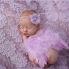 Newborn Baby Angel Wings+Headband Costume Photo Photography Props Outfits Set