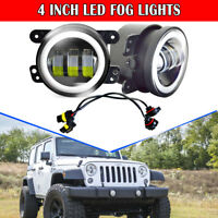 2PCS DOT 4Inch Round Led Fog Lights 30W White Halo Ring DRL For Jeep Wrangler JK