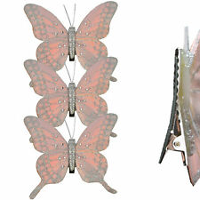 Christmas 3 Pack Clip on Feather Butterfly with Glitter Tree Decoration - Pink