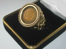 1907 Indian Head Penny - Old West 14K Solid Yellow-Gold Nugget Style Ring -