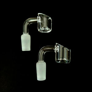 (2 Pack) 14mm 90 Degree Male Quartz Glass Nail with 4mm THICK Bowl USA SHIPPER!