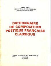 """POESIE LIVRE """" DICTIONNAIRE DE COMPOSITION POETIQUE """" DEDICACE CLAUDE COTTI 1977"""