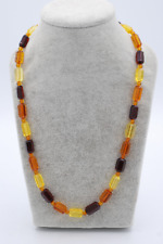 Mix Amber hexagonal shape necklace 6x12mm, 17inches long