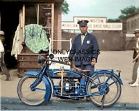 1922 POLICE OFFICER ESLIE WILLIAMS & X-HENDERSON MOTORCYCLE 8X10 COLORIZED PHOTO