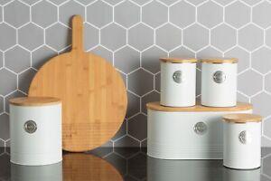 Typhoon White Tea, Coffee & Sugar, Bread Bin, Biscuit Tin Storage Container Jar