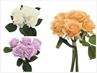 Life Like Medium Real Touch Open Rose Bouquet Bundle (6 Stems) Home Decor DIY