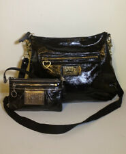 COACH  Poppy Daisy Liquid Gloss Black Patent Leather Crossbody Bag F20108