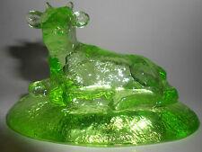 neon Green Vaseline glass milk Cow farm uranium yellow paperweight / cattle bull