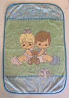 Precious Moments Baby Crib Throw Plush Minky Blanket Boy Girl Bear Vintage