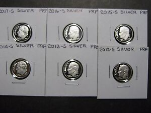 9 coins 2018s GEM Proofs 90/% Silver Roosevelt Dimes 2010 s,- 2012s - 2016s