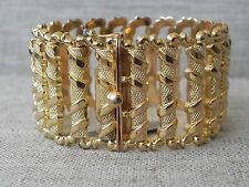 """Solid 18k 750 Yellow Gold Wide Link Bracelet Italy 7.25"""""""