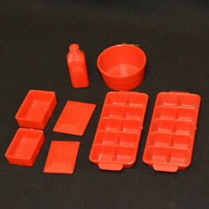 """ACCESSORIES FOR VINTAGE 1950's MARX TIN METAL 14"""" REFRIGERATOR ICE TRAY DISHES"""