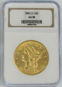 1883 CC CARSON CITY GOLD $20 LIBERTY DOUBLE EAGLE NGC ABOUT UNC 58