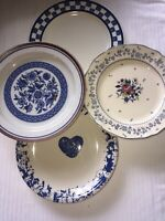 Set Of 4 Vintage China Mismatched Blue & White Transferware Salad Plates  #108