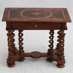 Jacobean Walnut Brass Fruitwood Inlay Table Desk Barley Twist Leg Hodgson Style