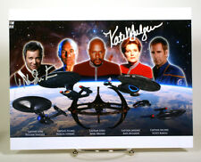 Star Trek 5 Captains  Autographed signed 8x10 photo w/coa  Mulgrew Shatner