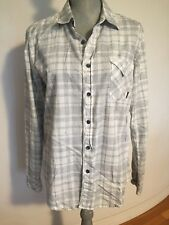New Billabong White Gray/Black Plaid Flannel Style Shirt Women Sz Small