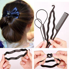 4 Pcs Set Styling Clip Bun Maker Hair Twist Braid Ponytail Tool Accessories
